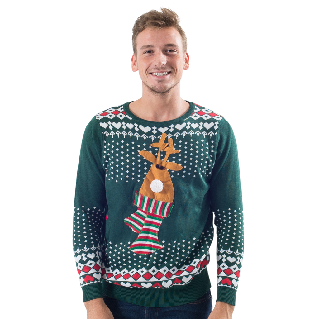 Light Up Christmas Sweater.Light Up Reindeer Nose Ugly Christmas Sweater Costume Agent