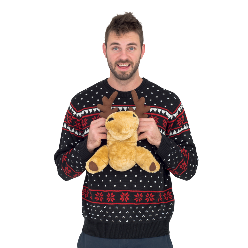 Black 3D Moose Ugly Christmas Sweater | Costume Agent