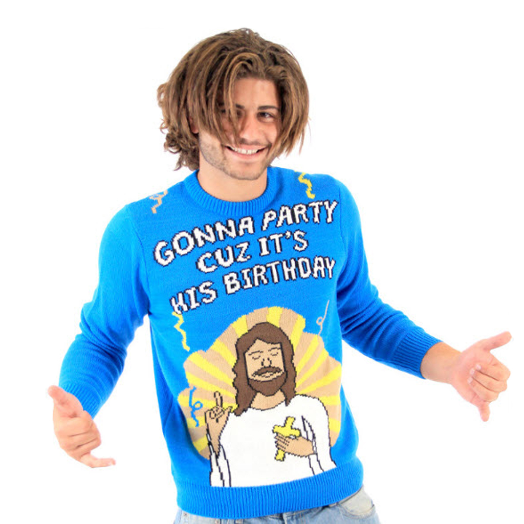 Gonna Party Cuz It\'s His Birthday Jesus Ugly Christmas Sweater ...
