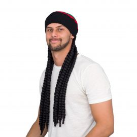 Rasta Deluxe Costume Accessory Black Wig and Beanie Hat
